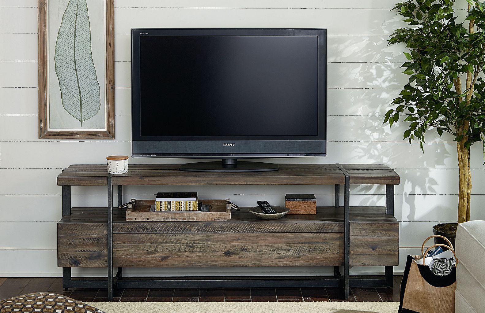 Modern Timber Entertainment Console by Hammary at Wilson's Furniture