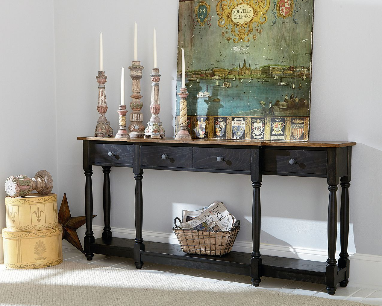 Hidden Treasures Console Table by Hammary at Mueller Furniture