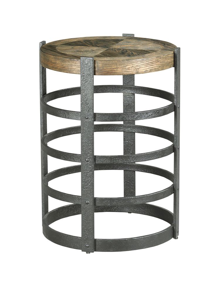 Hidden Treasures Barrel Strap End Table by Hammary at Home Collections Furniture