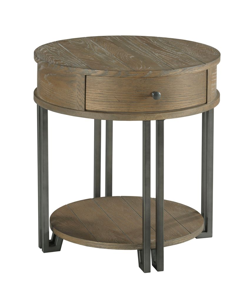 Saddletree Round Chairside Table by Hammary at Jacksonville Furniture Mart
