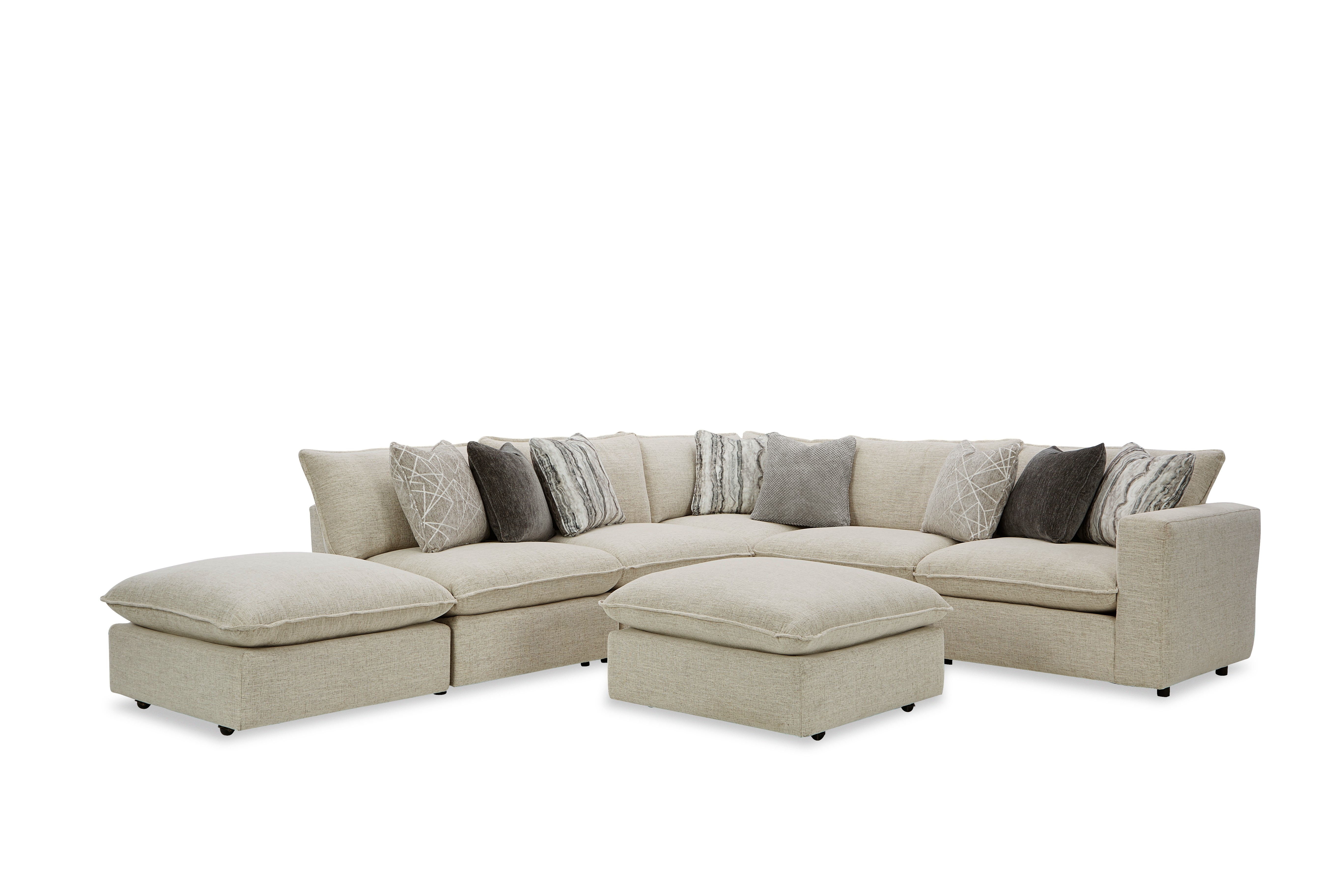 712741BD Sectional w/ Two Bumper Ottomans & RAF Chair by Craftmaster at Prime Brothers Furniture