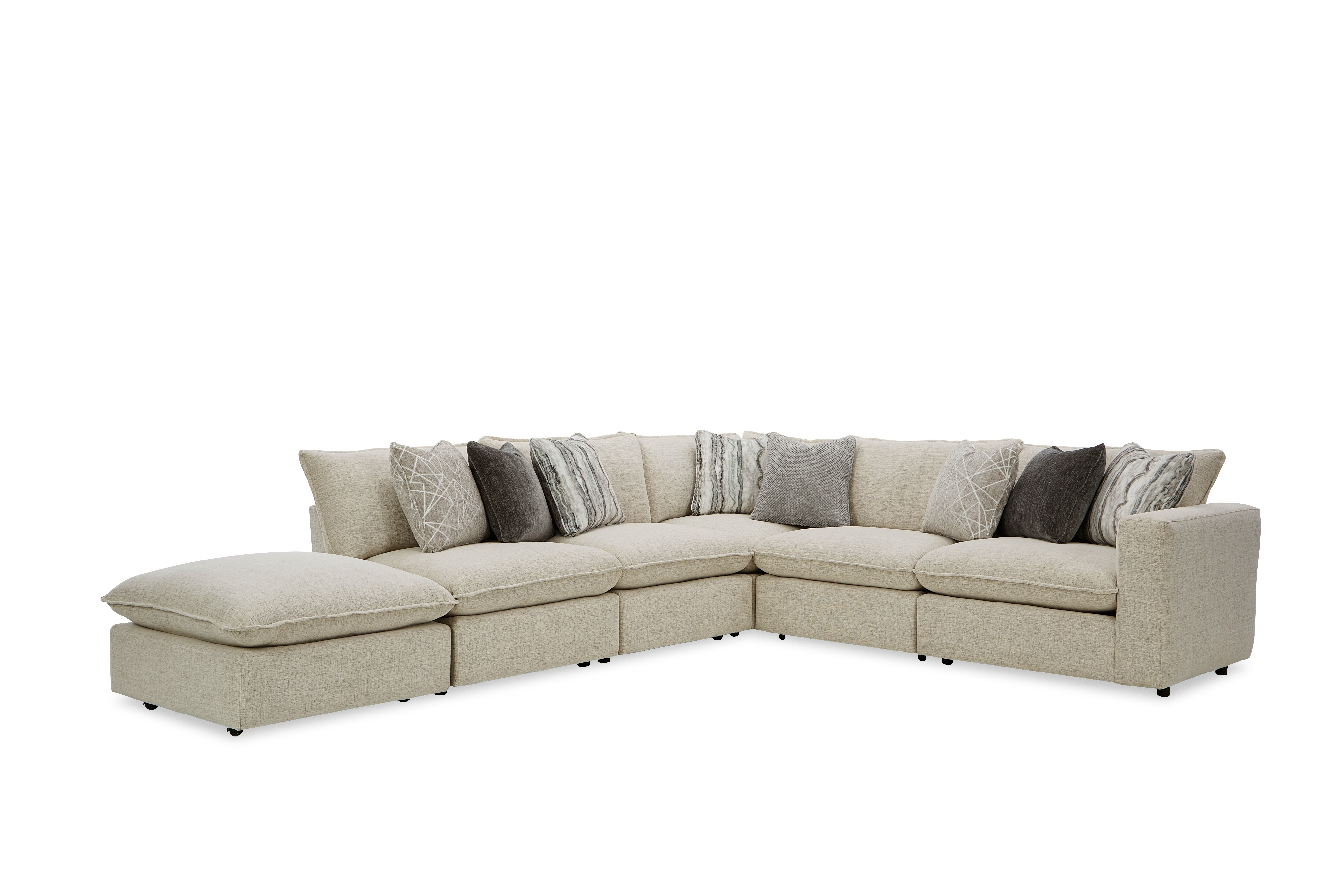 712741BD Sectional w/ One Bumper Ottoman & RAF Chair by Craftmaster at Home Collections Furniture