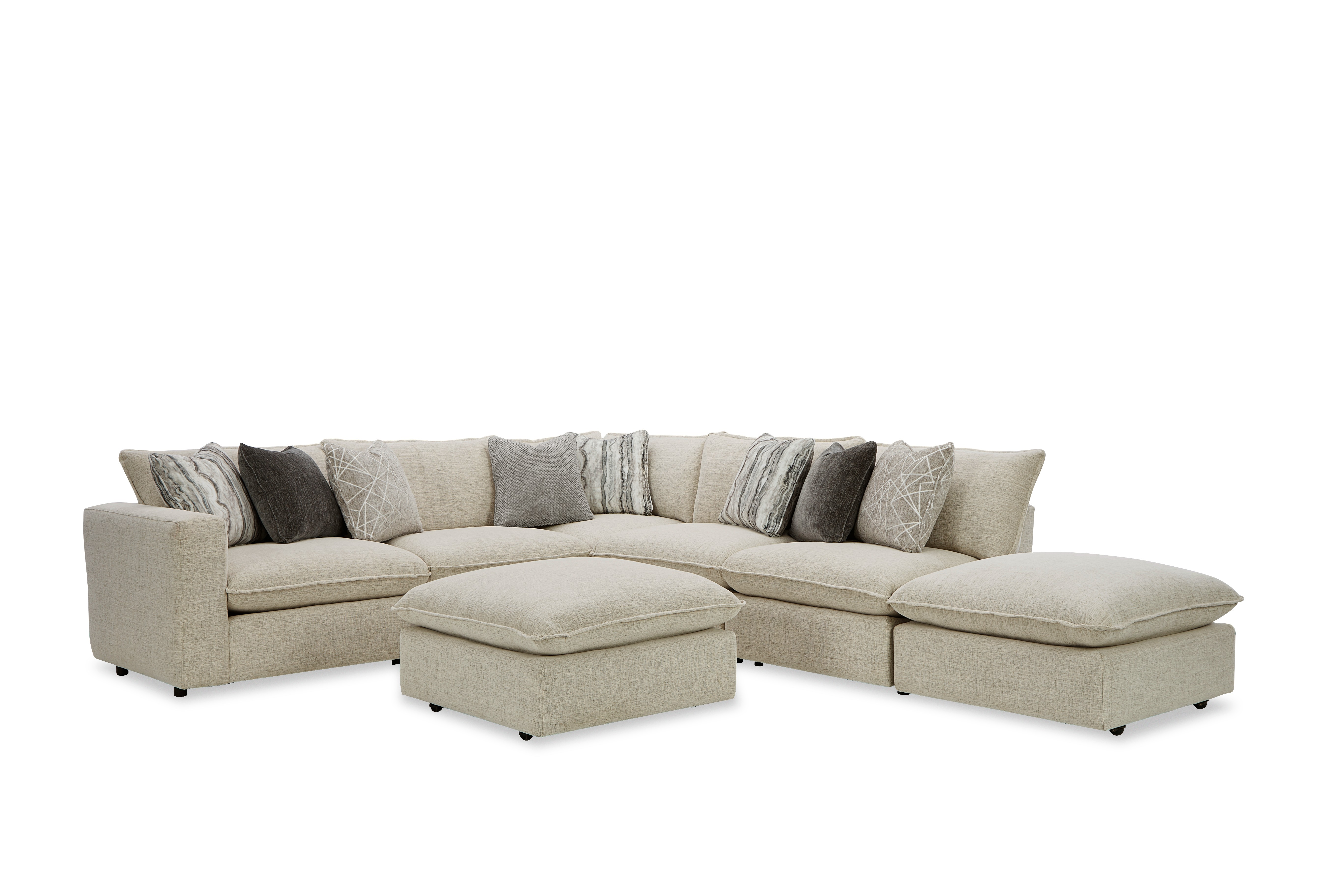 712741BD Sectional w/ Two Bumper Ottomans & LAF Chair by Craftmaster at Prime Brothers Furniture
