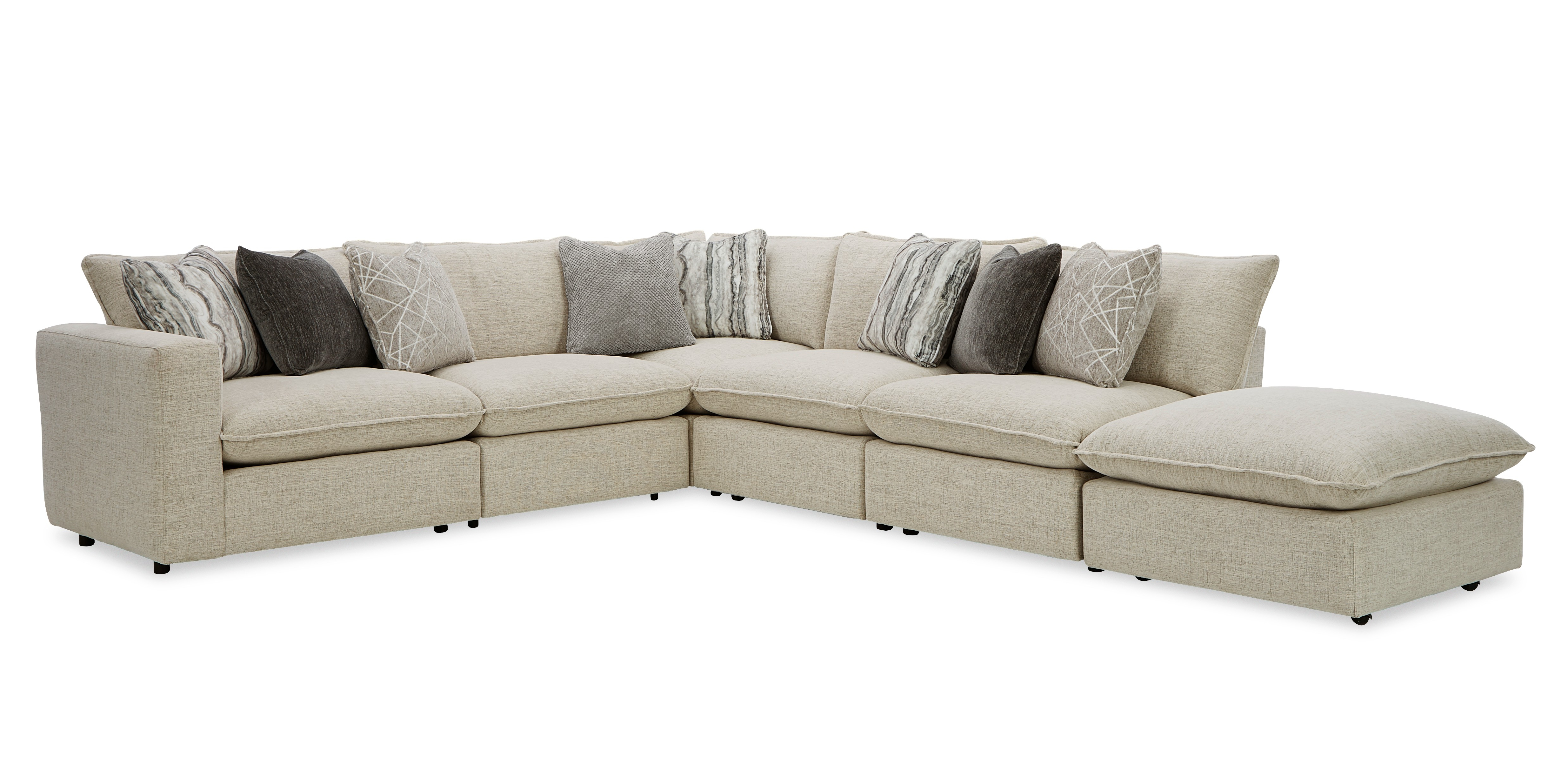 712741BD Sectional w/ One Bumper Ottoman & LAF Chair by Craftmaster at Powell's Furniture and Mattress