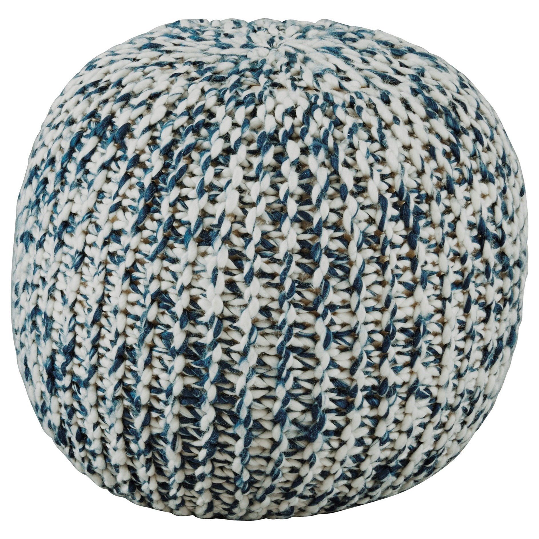 Poufs Latricia Blue/White Pouf by Signature Design by Ashley at Furniture Barn