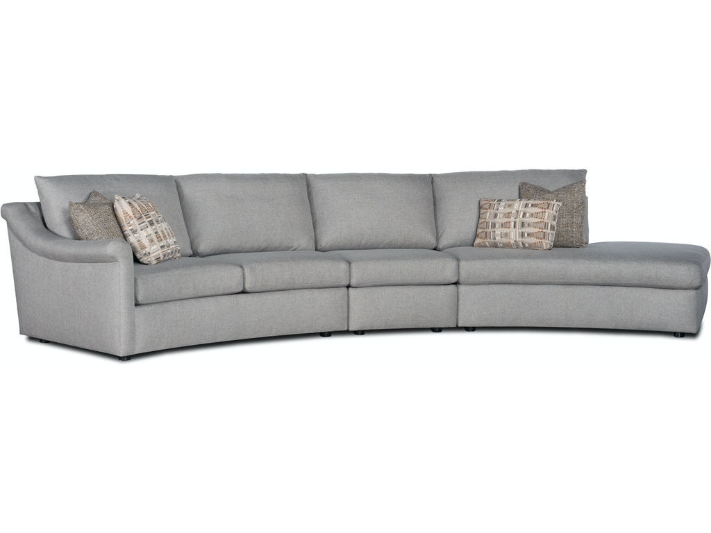 3-Piece Curved Sectional Sofa w/ RAF Chaise