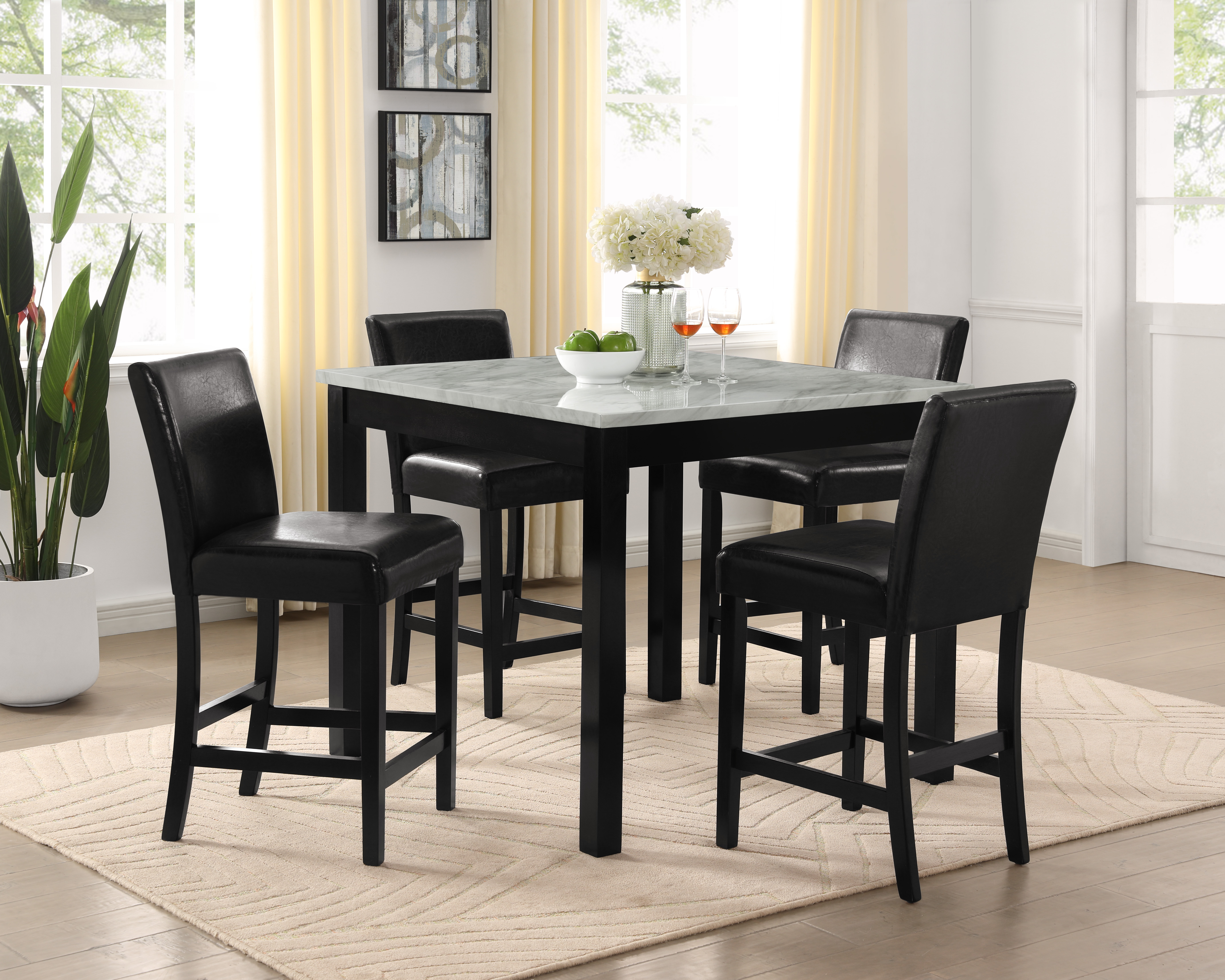Lennon 5-Piece Counter Height Table Set by Crown Mark at Dream Home Interiors