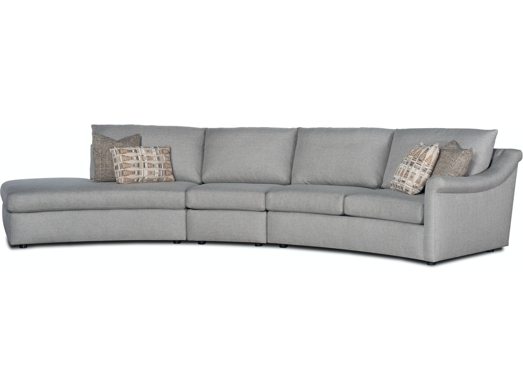 Danae 3-Piece Curved Sectional Sofa w/ LAF Chais by Sam Moore at Belfort Furniture