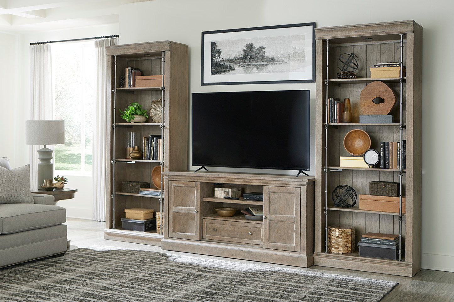 Media Console and Bookcases