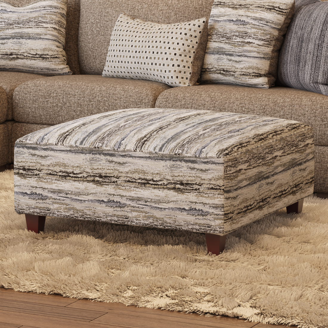 51 MARTY FOSSIL Cocktail Ottoman by VFM Signature at Virginia Furniture Market