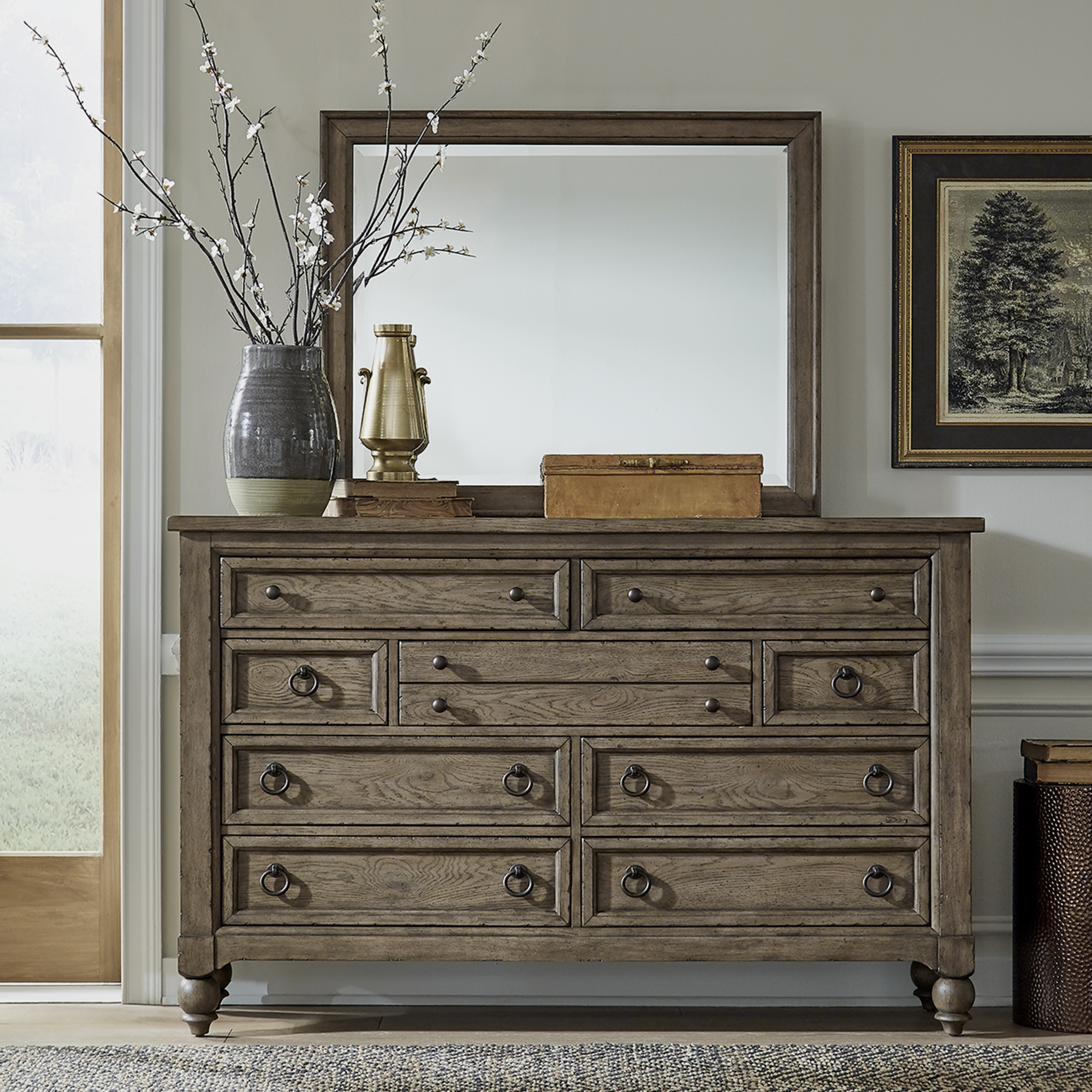 Americana Farmhouse Dresser & Mirror Set by Libby at Walker's Furniture