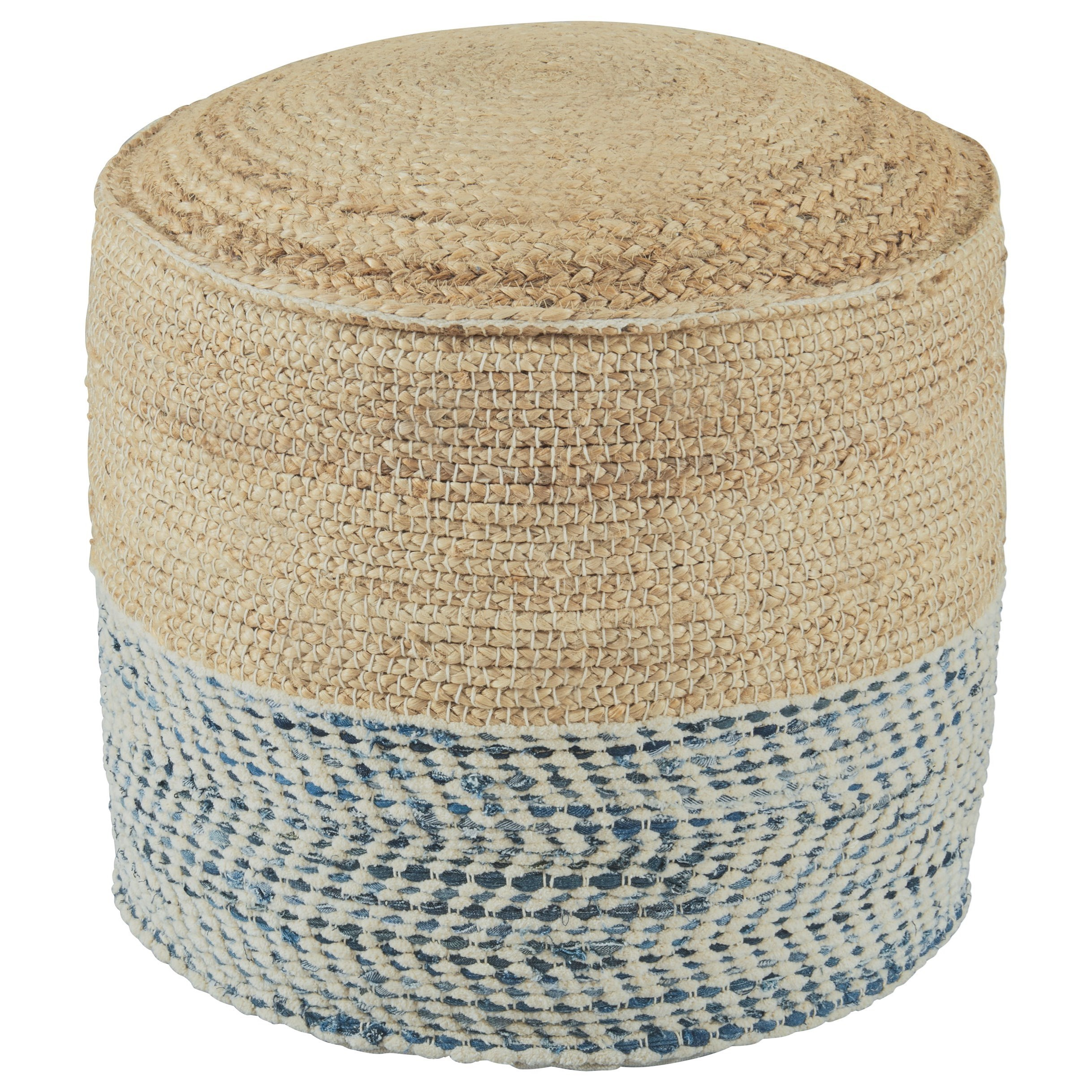 Poufs Matson Natural/Blue Pouf by Signature Design by Ashley at Zak's Home Outlet
