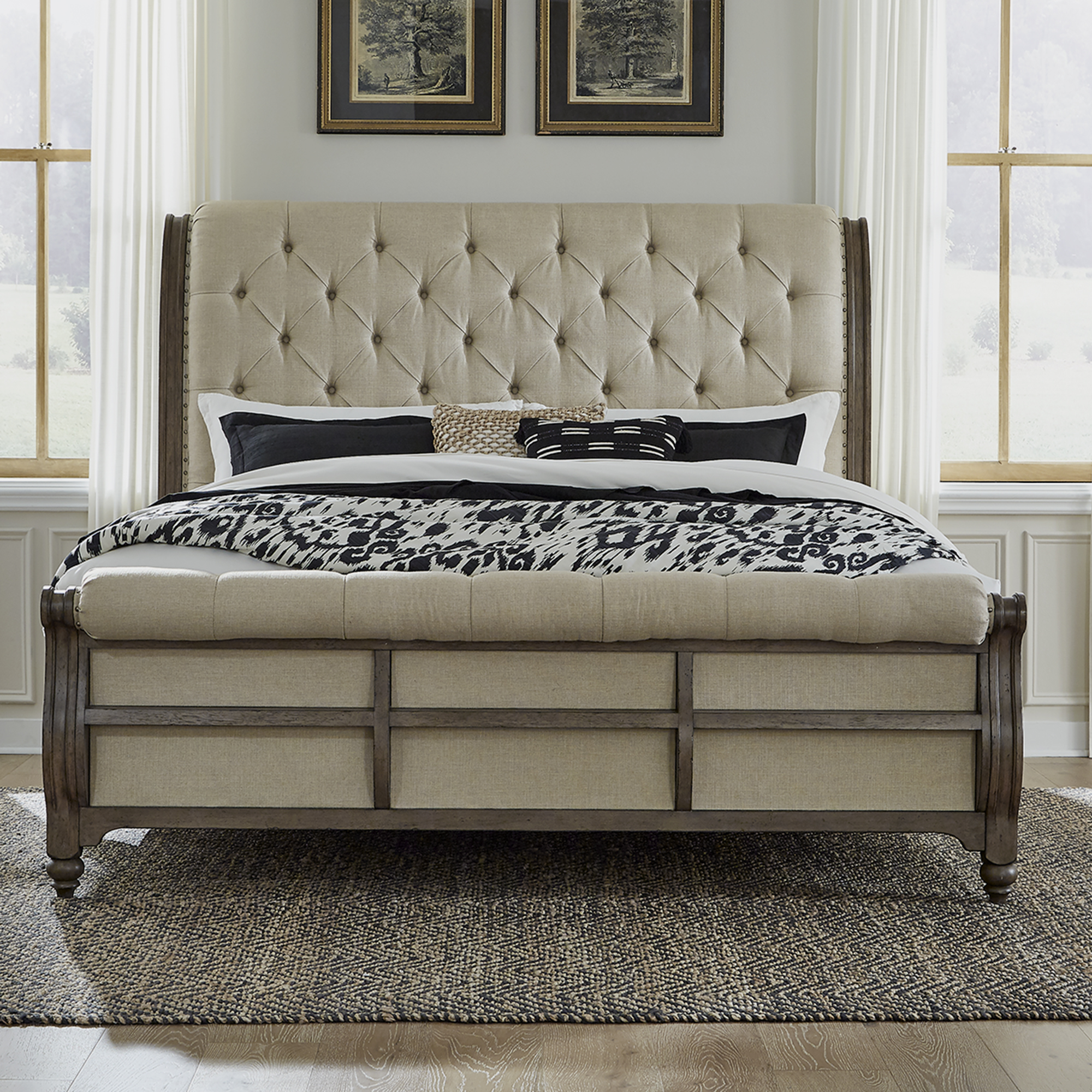 Americana Farmhouse Queen Sleigh Bed by Liberty Furniture at Dream Home Interiors