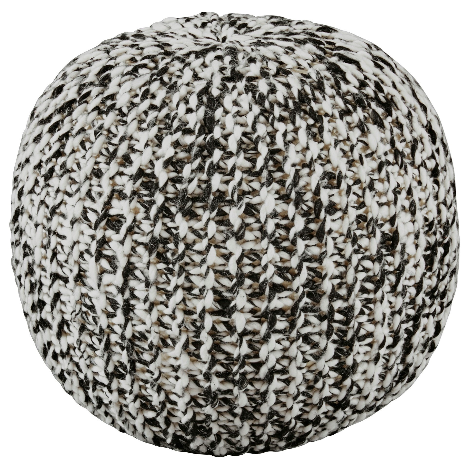 Poufs Latricia Black/White Pouf by Signature Design by Ashley at Furniture Barn