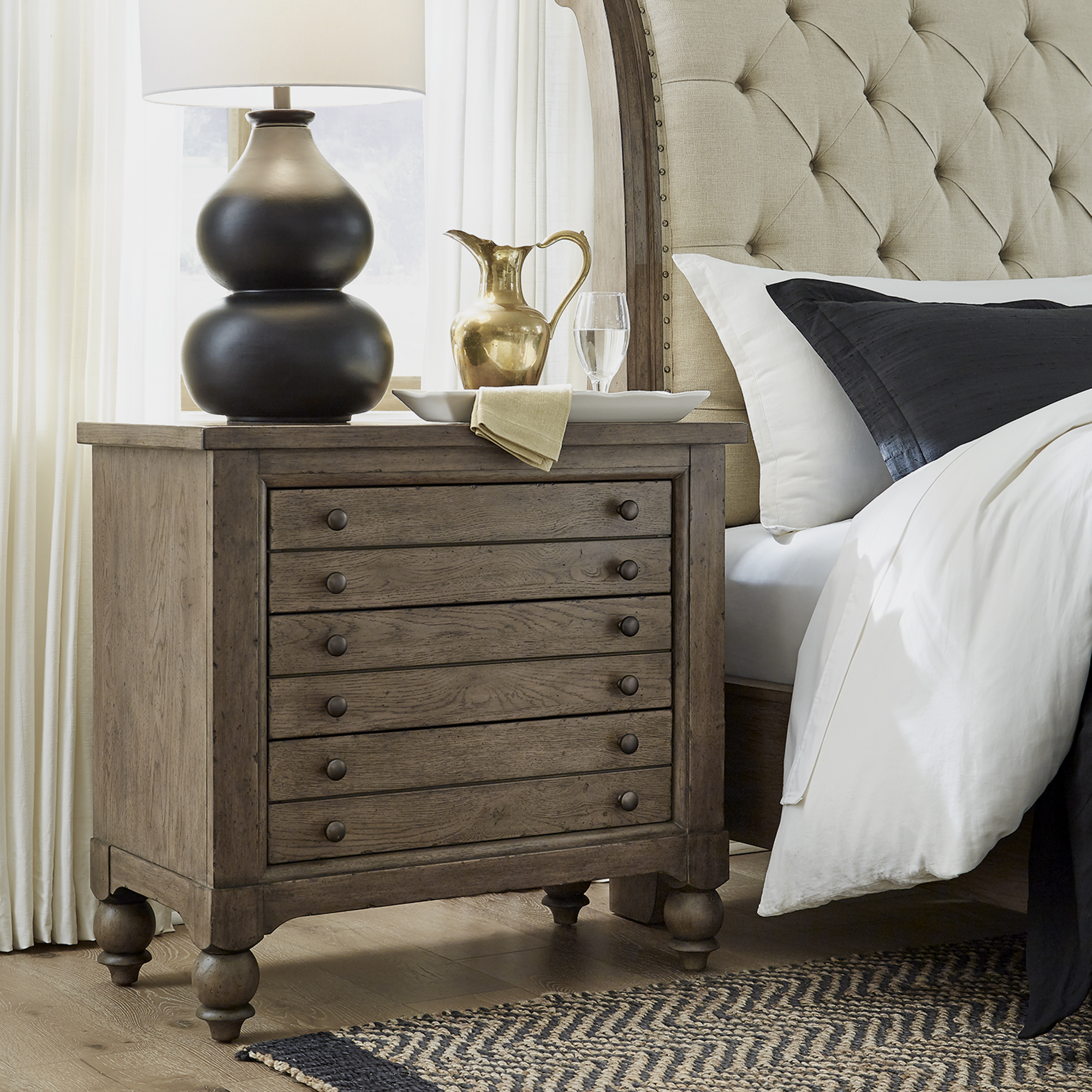 Americana Farmhouse Bedside Chest w/ Charging Station by Liberty Furniture at Story & Lee Furniture