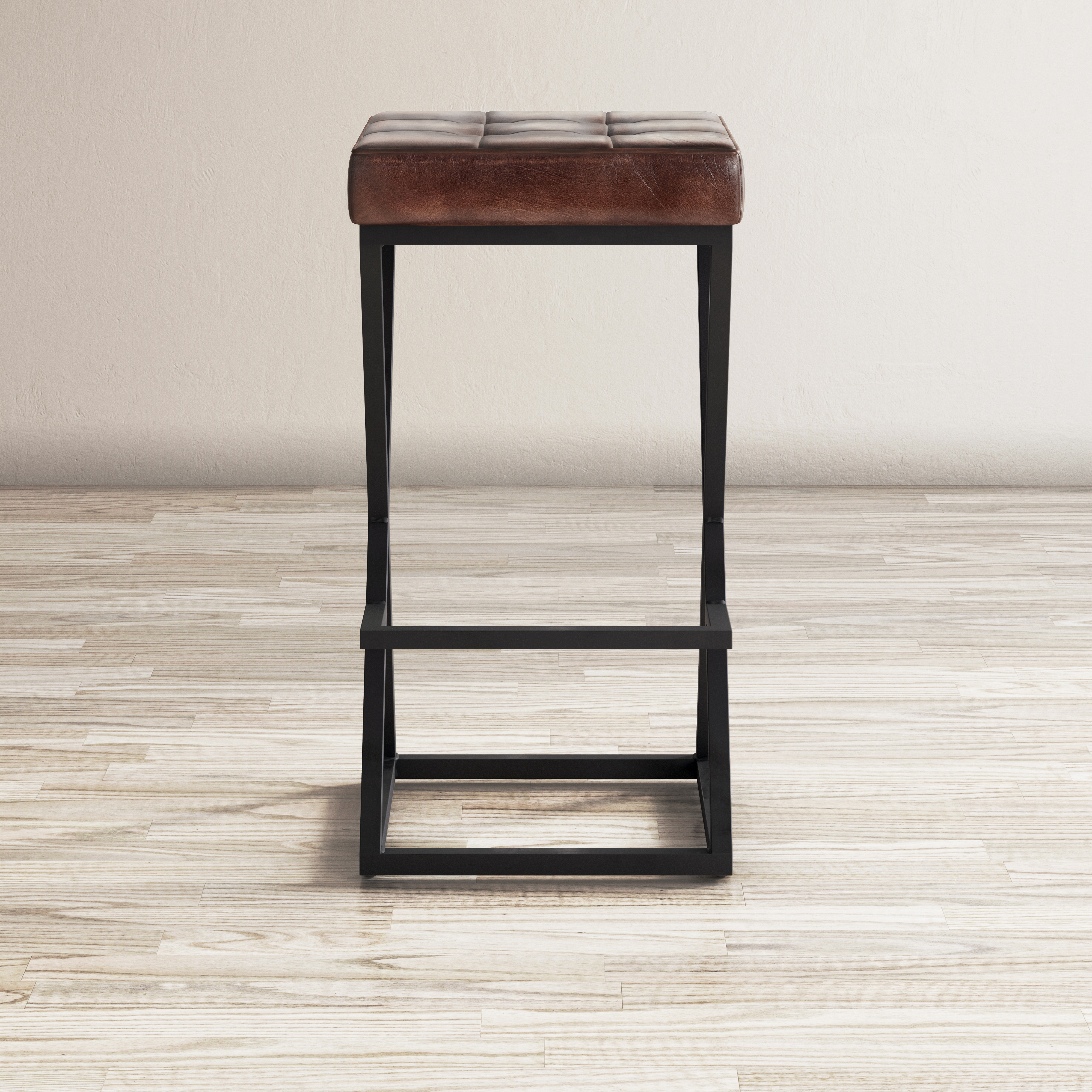 Global Archive Leather Stool by Jo Furniture Co. at Ruby Gordon Home