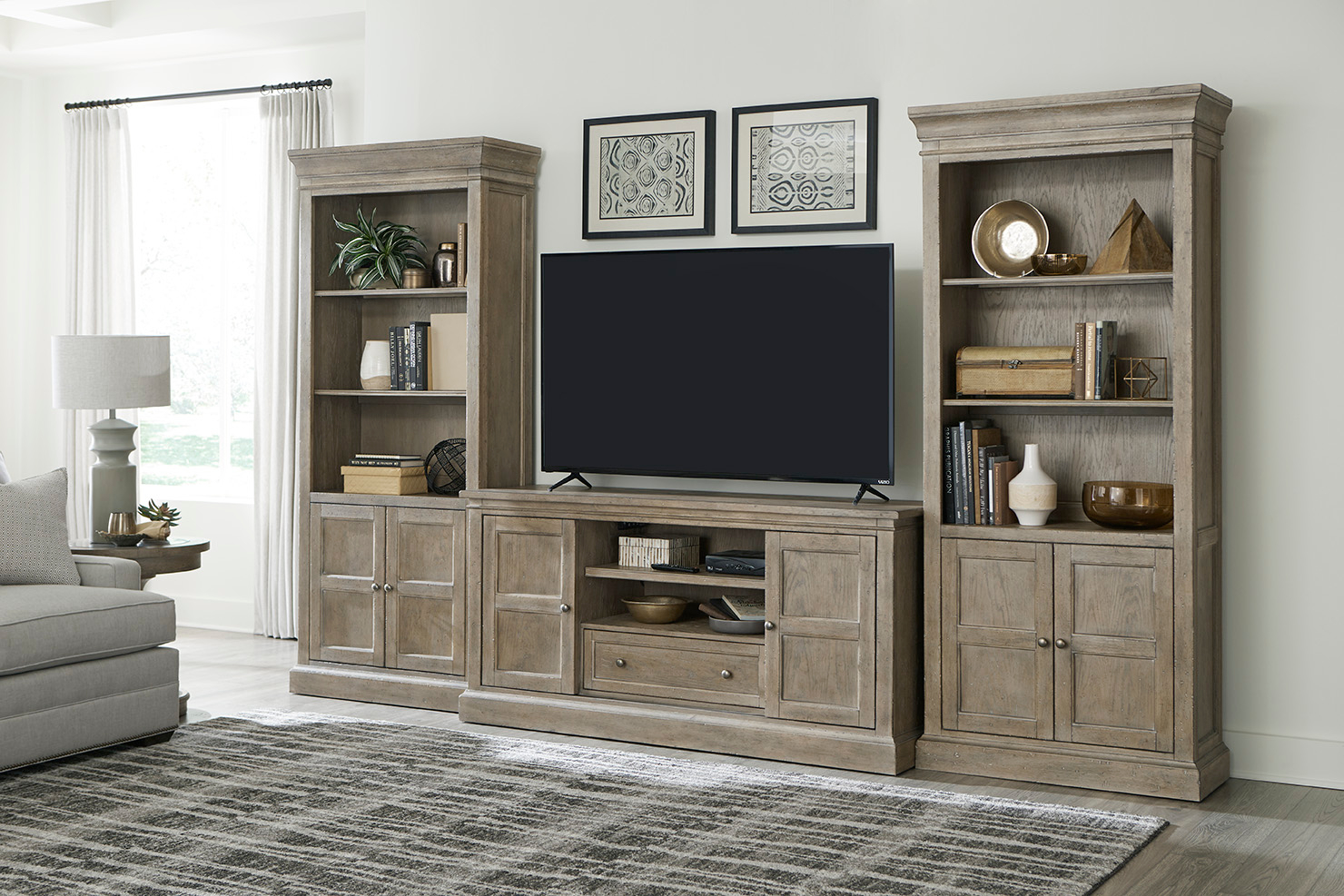Donelson Media Console and Bookcases by Hammary at Mueller Furniture