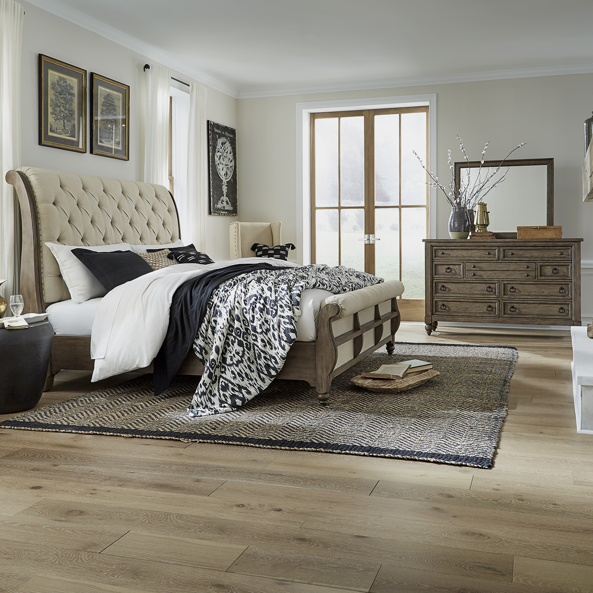 Americana Farmhouse Queen Sleigh Bedroom Group by Liberty Furniture at Godby Home Furnishings