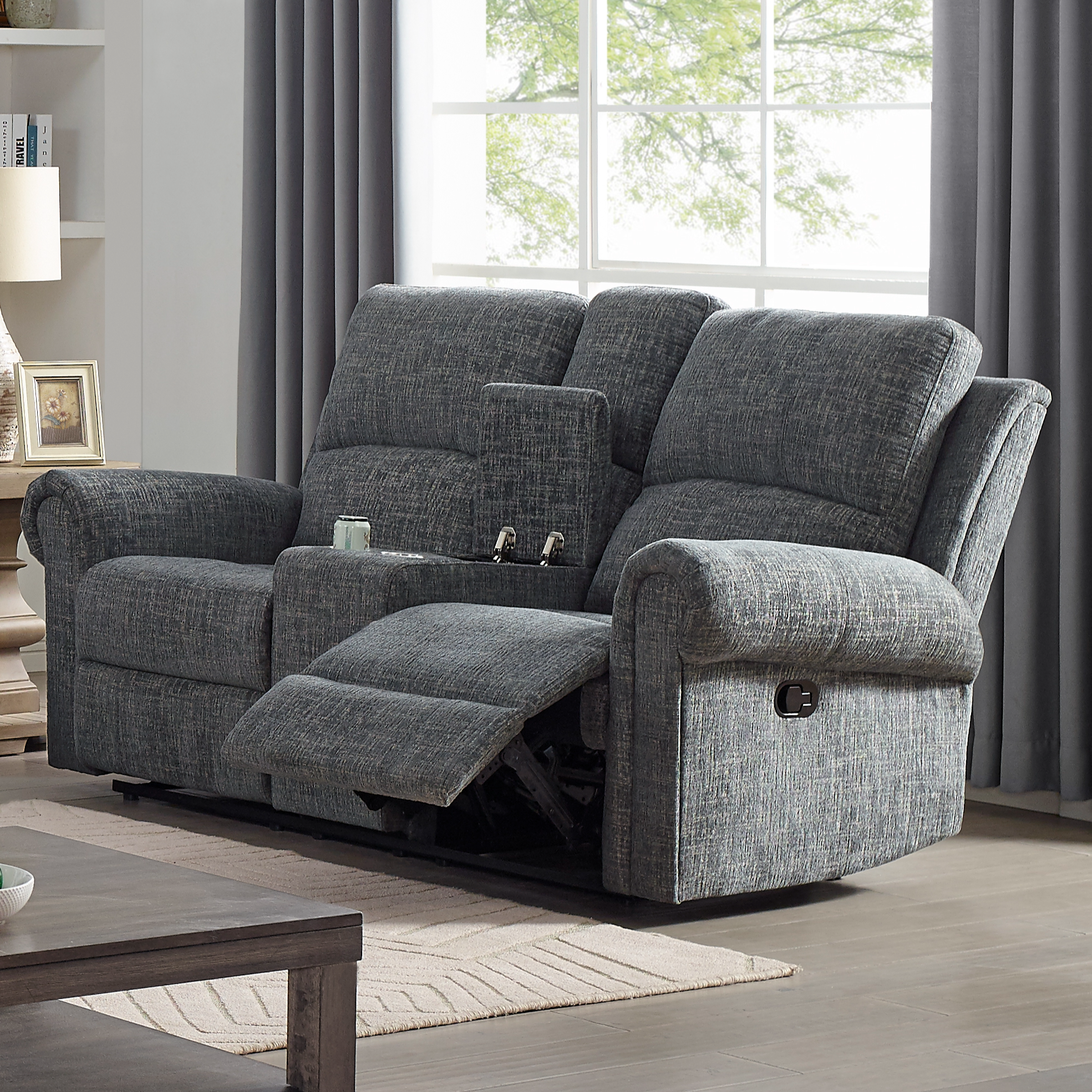 Connor Reclining Console Loveseat by New Classic at Beds N Stuff