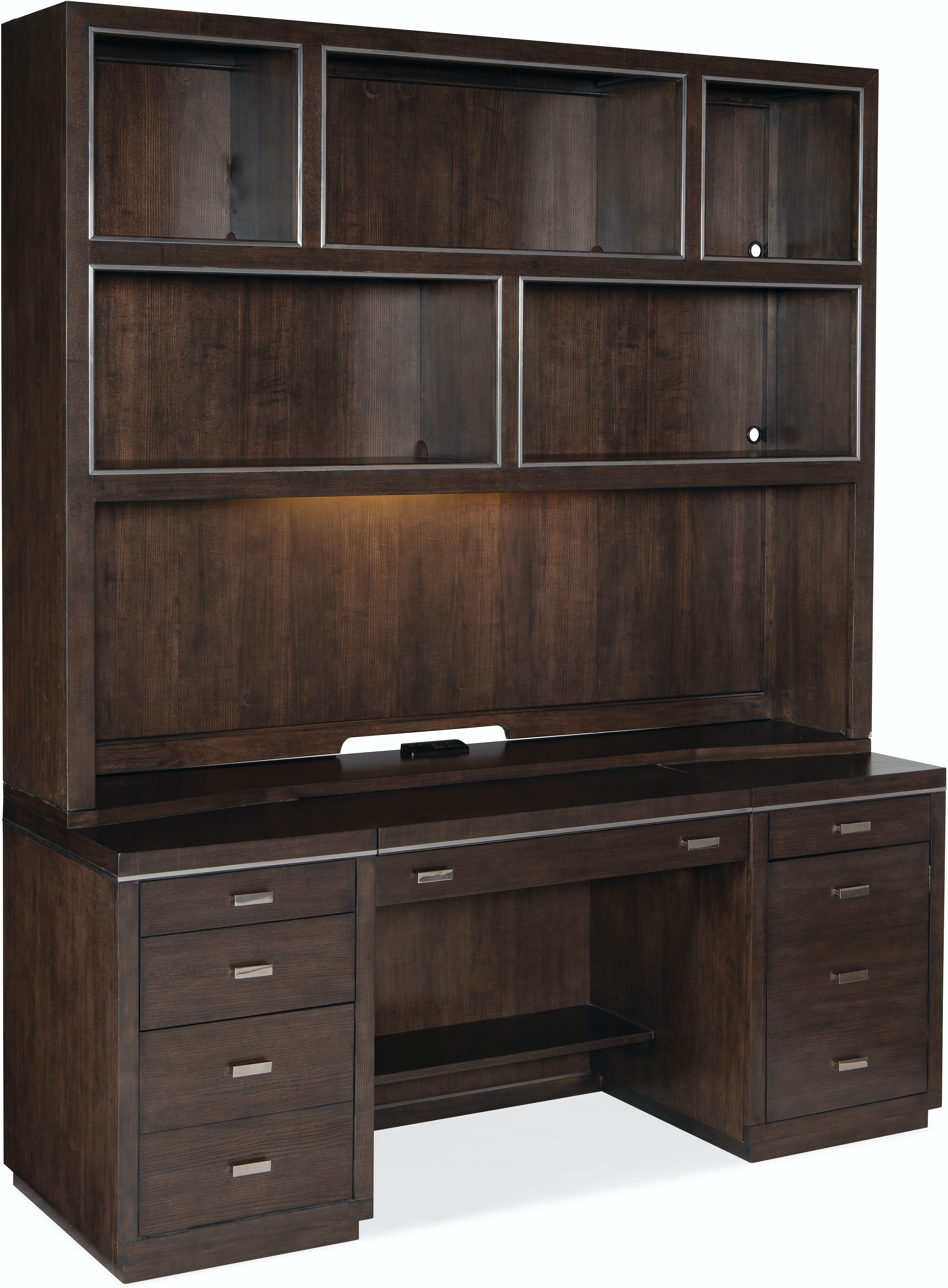 House Blend Credenza with Hutch by Hooker Furniture at Mueller Furniture