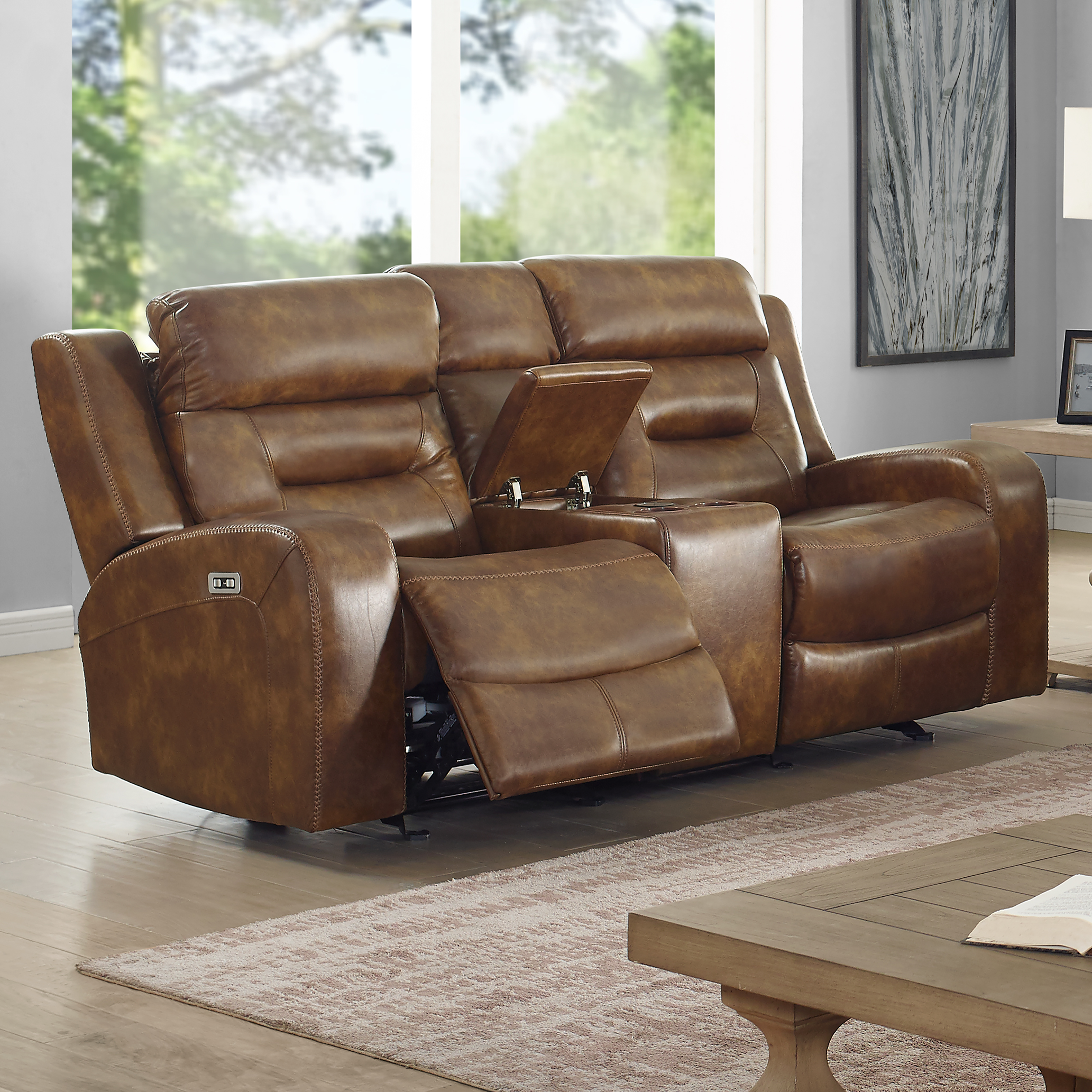 Dallas Power Reclining Glider Console Loveseat by New Classic at Wilson's Furniture
