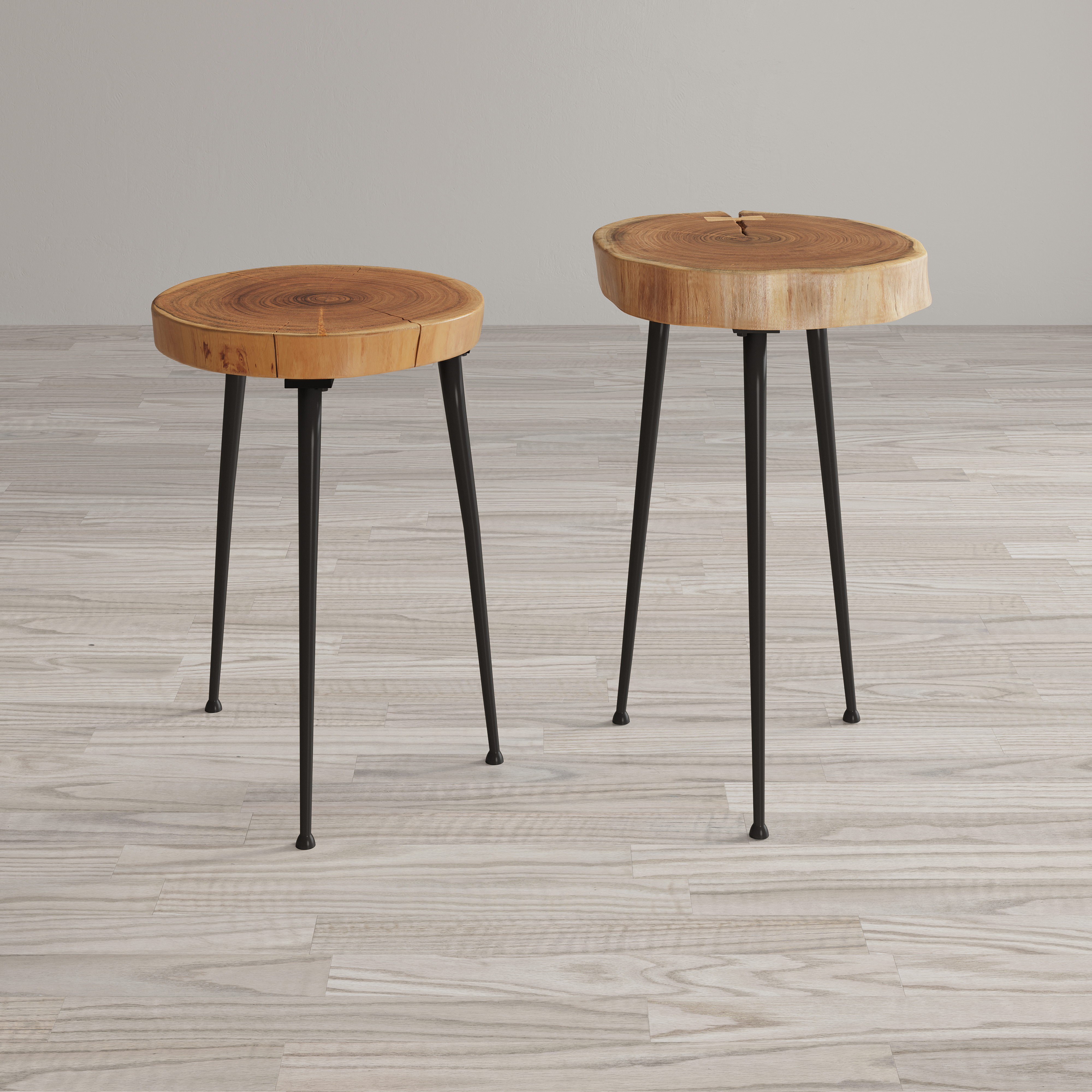 Global Archive Wood and Iron Accent Tables (Set of 2) by Jofran at Jofran