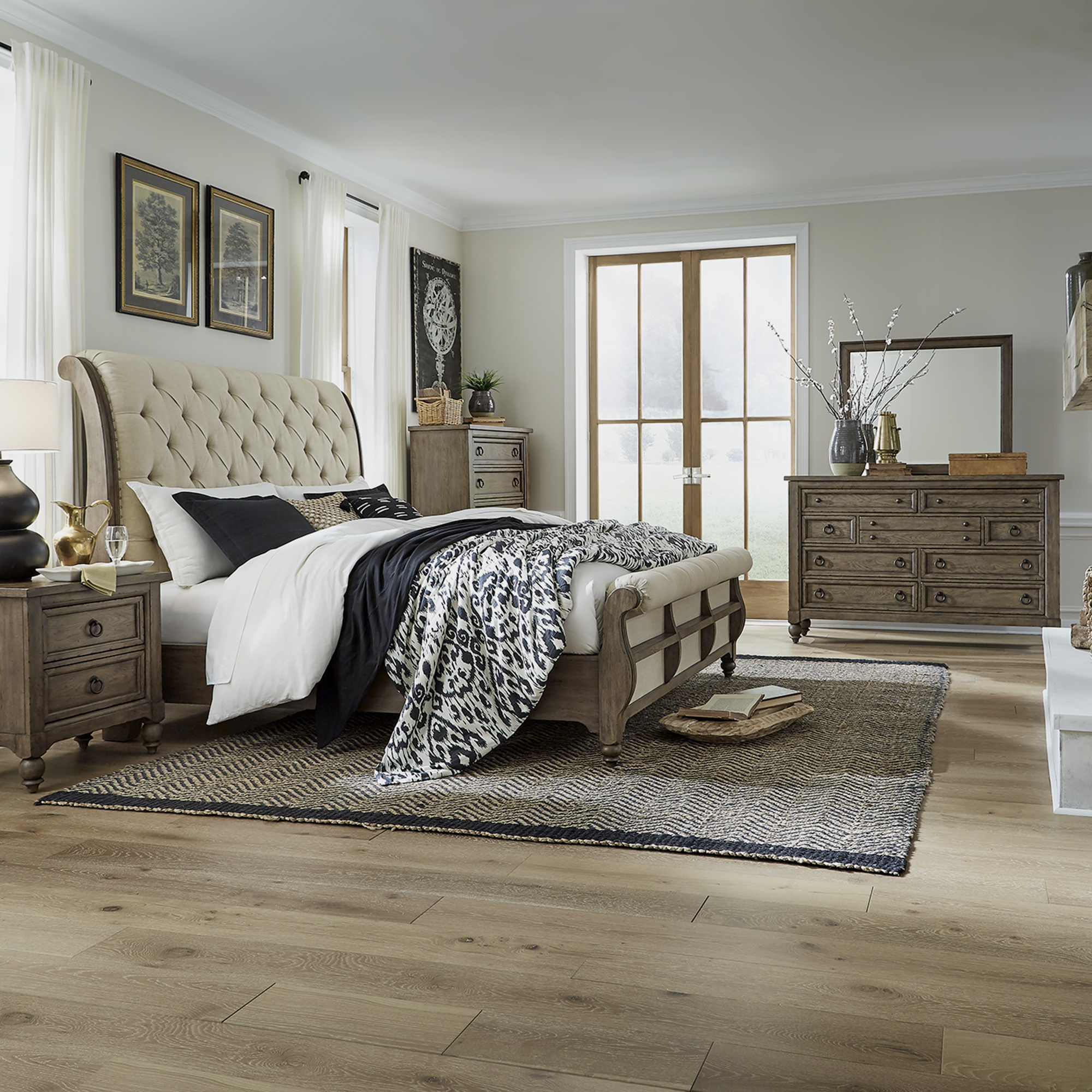 Americana Farmhouse Queen Sleigh Bedroom Group by Liberty Furniture at Esprit Decor Home Furnishings