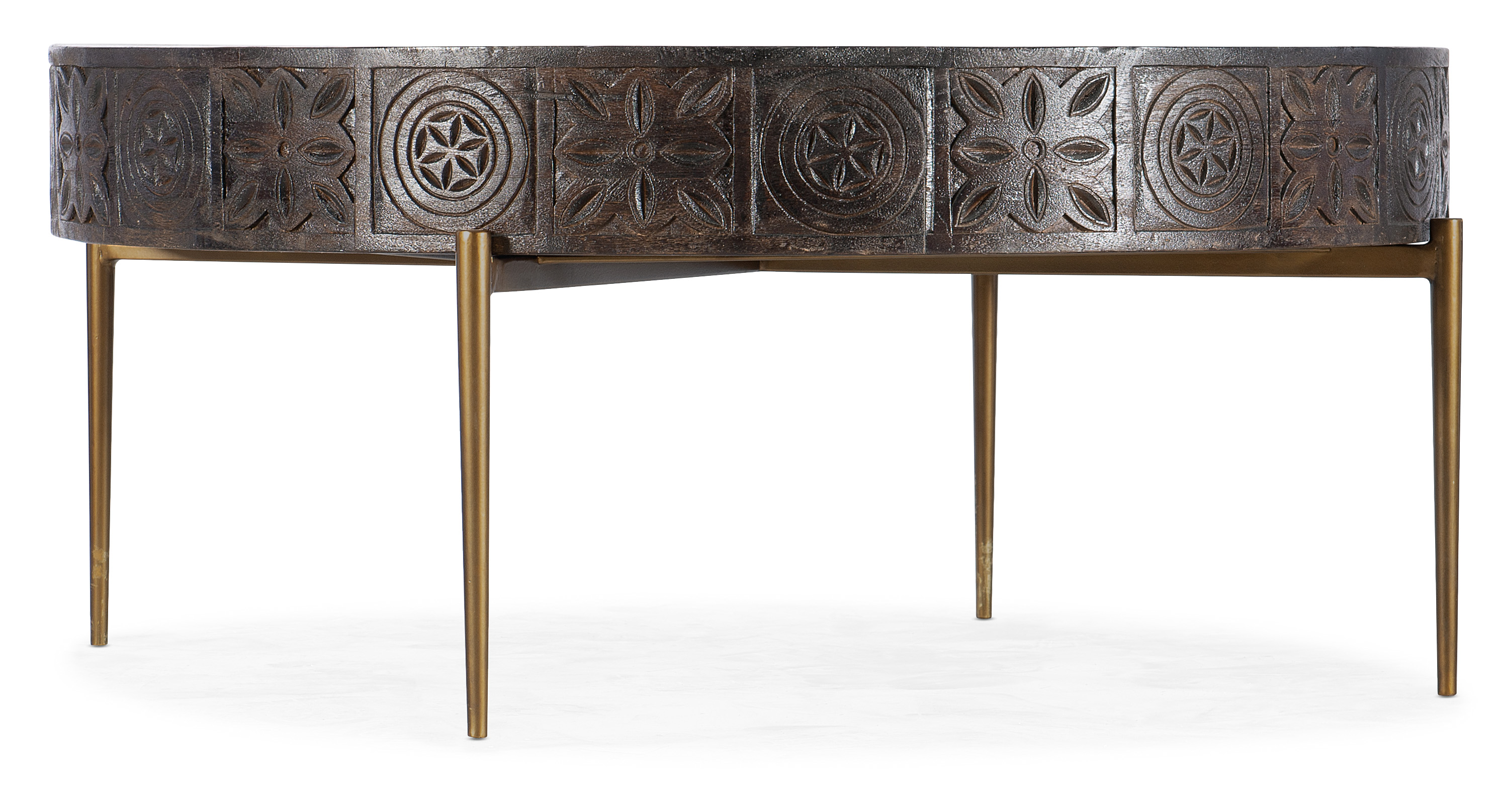 Carved Round Cocktail Table