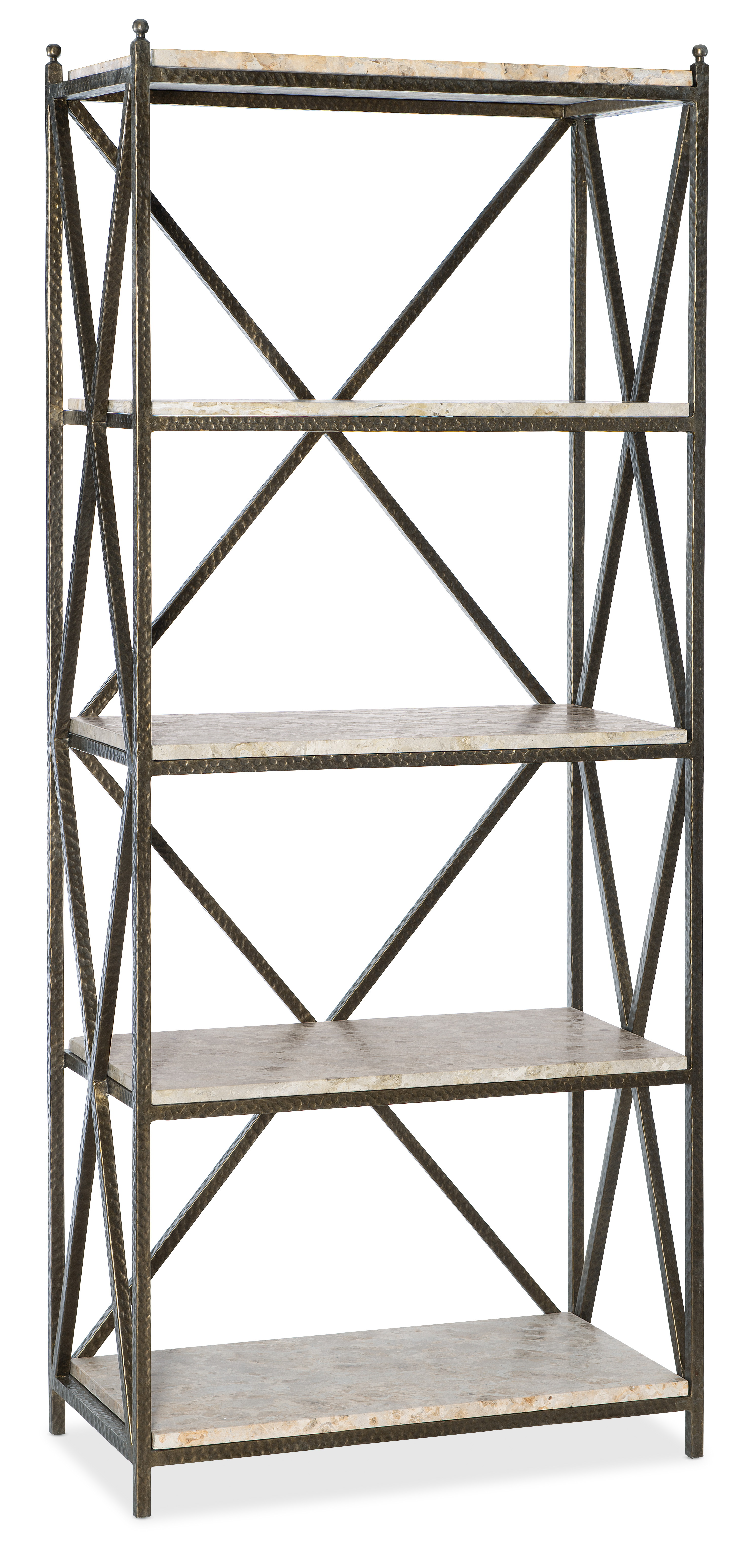 Commerce and Market Metal-Stone Etagere by Hooker Furniture at Miller Waldrop Furniture and Decor
