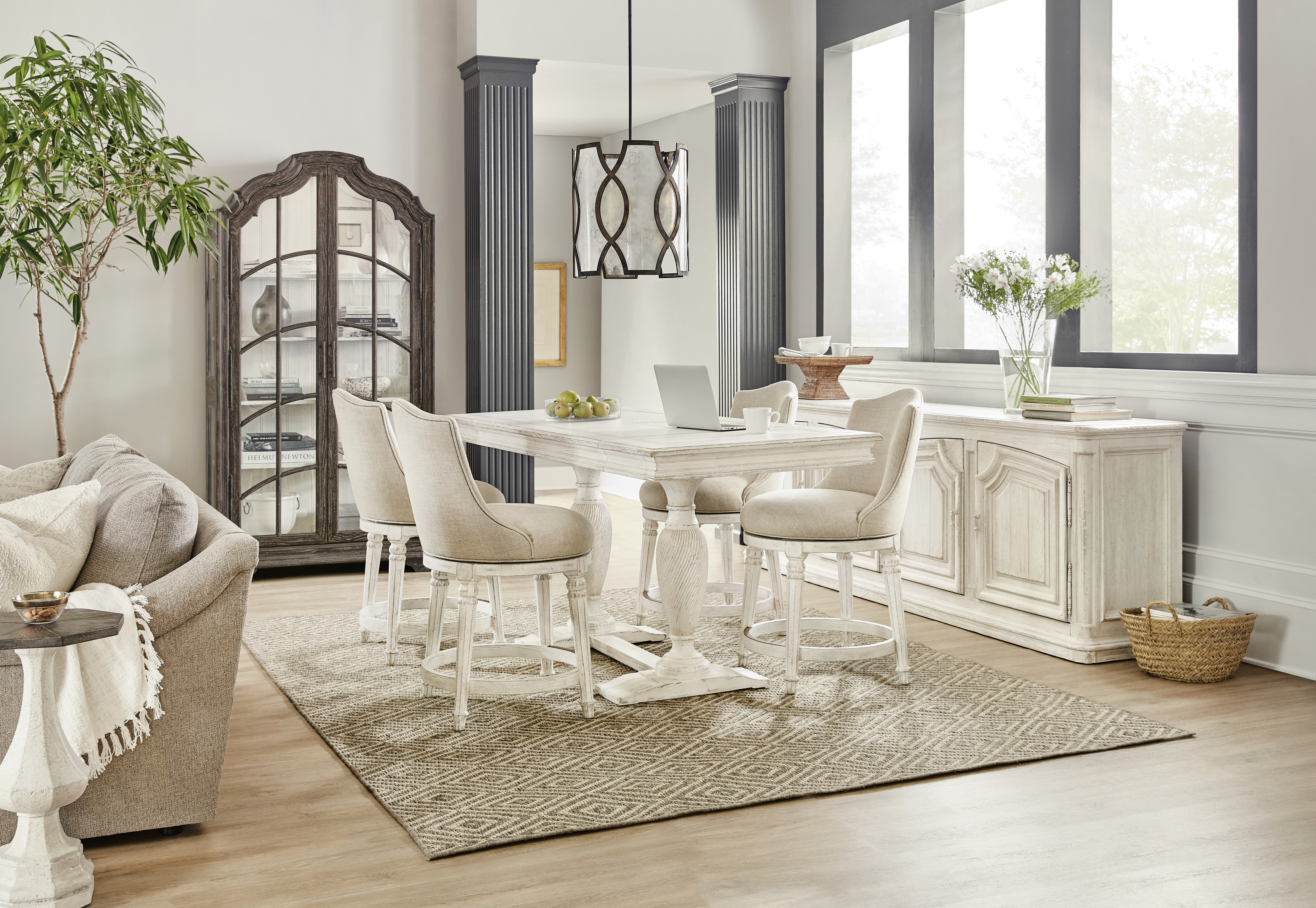 Counter Height Dining Set with Credenza