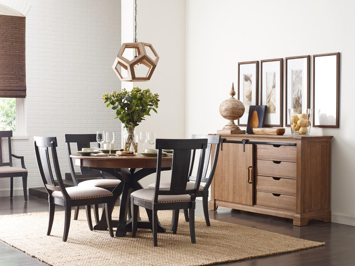 Kincaid Furniture Stone Ridge Seven Piece Dining Set With Rectangular Table And Black Painted Chairs