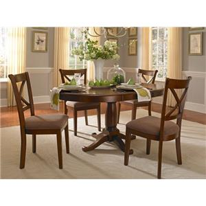 AAmerica Desoto Transitional Oval Pedestal Table with 18 Inch Leaf