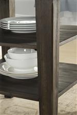 Counter height storage and leg detail