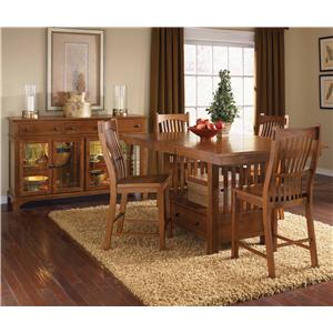 AAmerica Laurelhurst Trestle Table with Self Storing Leaves