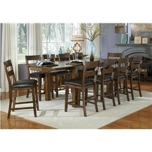 AAmerica Mariposa 11 Piece Gathering Table and Slatback Chairs Set