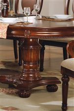 Decorative Double Pedestal Table Base with Bun Feet Below and Detailed Molding Above