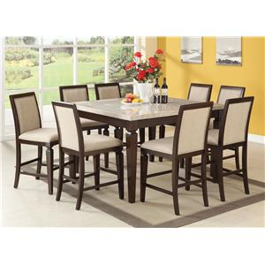 Acme Furniture Agatha Seven-Piece Marble Top Table and Upholstered Side Chair Dining Set