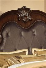 Headboard Crown with Button-Tufted Bonded Leather and Nail Head Trim