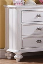 Raised Panel Details, Carved Bun Feet and Beveled Moulding Accent Pieces with Dainty Flair