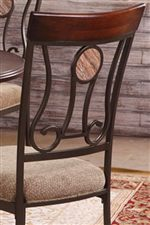 Features Comfortable Upholstered Chairs with Scrollwork on Seat Backs