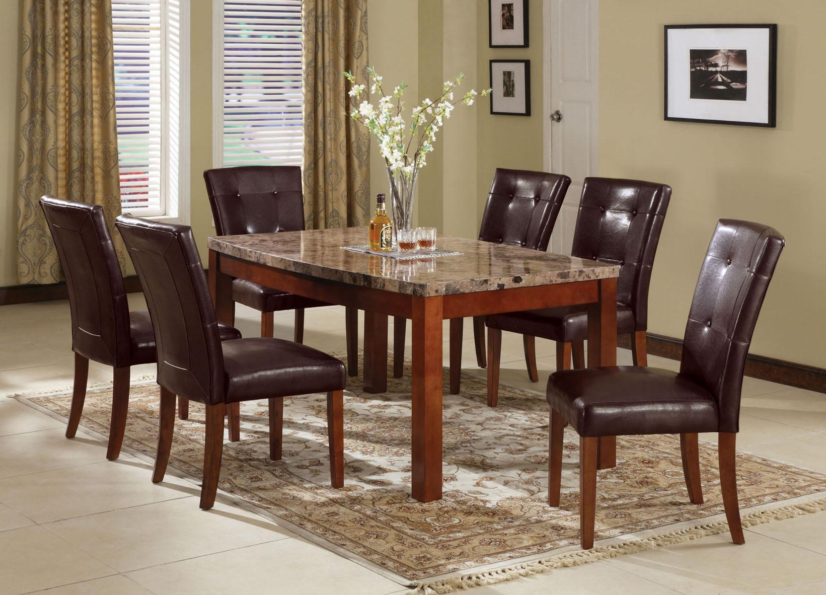 Acme Furniture Bologna 6 7 Piece Marble Top Dining Set | Rooms For Less |  Table U0026 Chair Set With Bench