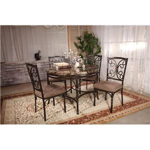 Acme Furniture Burril 5 Piece Dining Set with Faux Marble Top