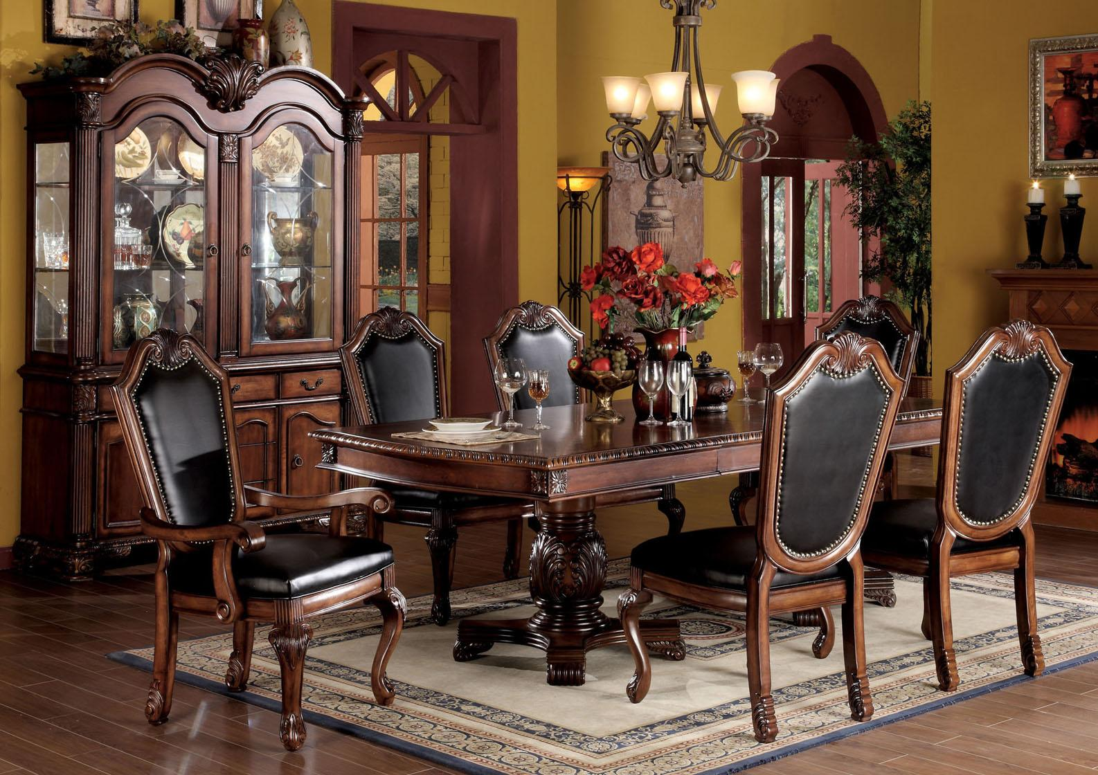 Cherry Wood Kitchen Table Sets Acme Furniture Chateau De Ville 7 Piece Formal Dining Set With
