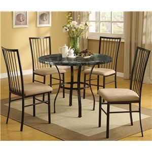 Acme Furniture Darell 5-Piece Faux Marble Dining Set with Upholstered Seats