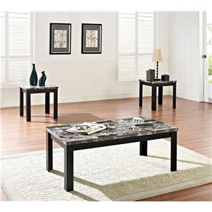 Acme Furniture Finely 3 Piece Coffee and End Table Set with Faux Marble Tops
