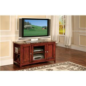 Acme Furniture Finely TV Stand with Faux Marble Top and 3 Doors