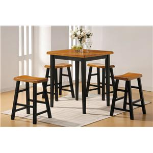 Acme Furniture Gaucho 5-Piece Counter Height Set with Square Top Table and Stools