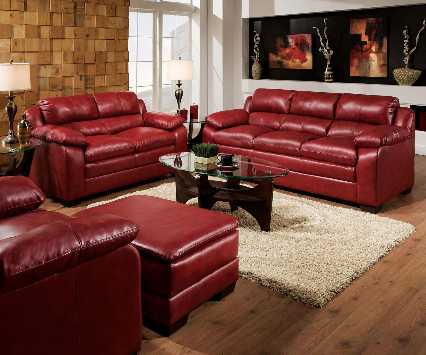 Acme Furniture Jeremy Red Stationary Living Room Group - Item Number: 5059 Stationary Living Room Group