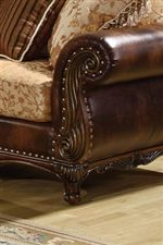 Rolled Bonded Leather Arm With Exposed Wood