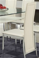 Tall-Back Side Chairs Upholstered in Chic White Vinyl